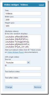 Video Widget configuration menu