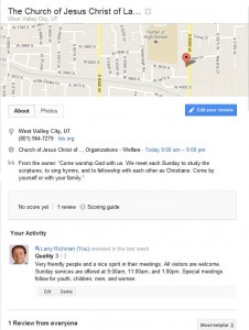 LDS Chapel Reviews on Google Maps