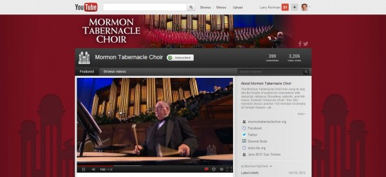Mormon Tabernacle Choir on YouTube