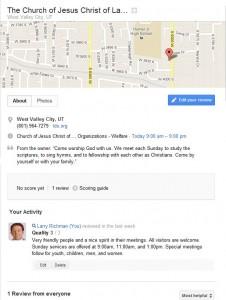 LDS Chapel Reviews on Google Maps