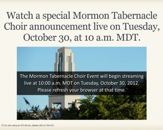 Mormon Tabernacle Choir Announcement Today