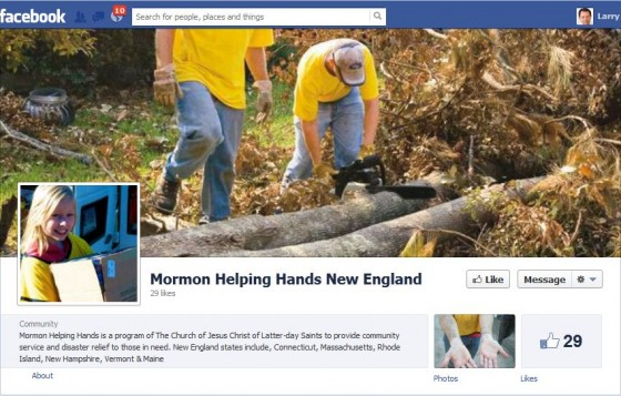 Facebook Page: Mormon Helping Hands New England