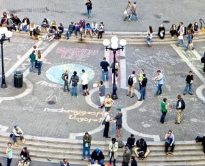 Mormon Missionaries Use  Chalk Art to Teach Plan of Salvation