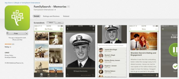 FamilySearch Memories Mobile App