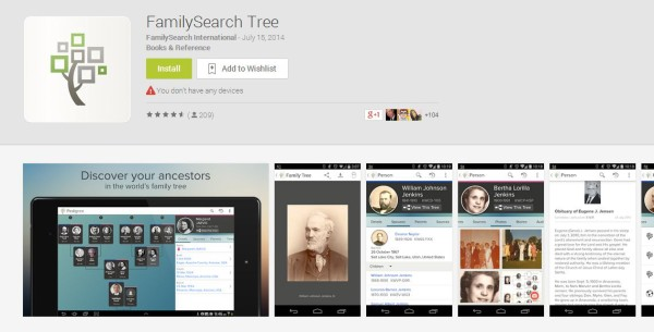 FamilySearch Tree Mobile App