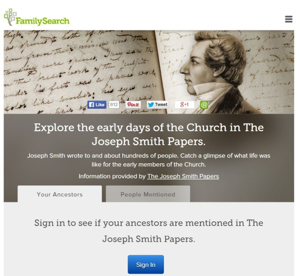FamilySearch Partners With Joseph Smith Papers