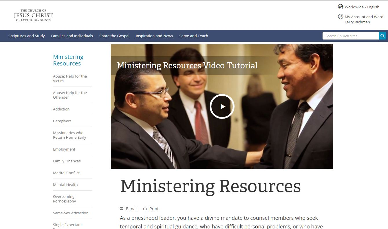 Ministering Resources on Same-Sex Attraction Updated for LDS Leaders
