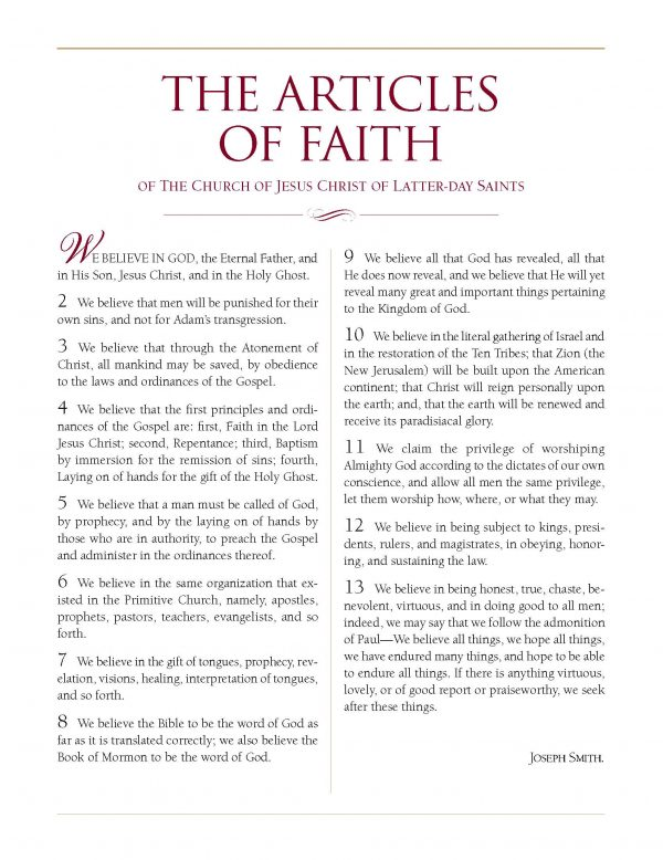 175th Anniversary of LDS Articles of Faith