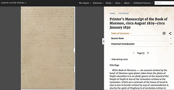 Book of Mormon Printer's Manuscript Now Online