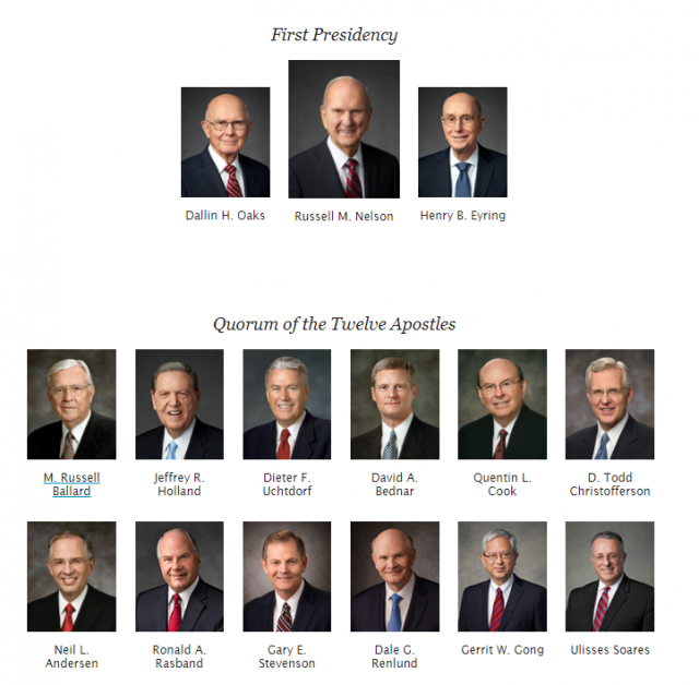 Updated Chart of LDS General Authorities and General Officers