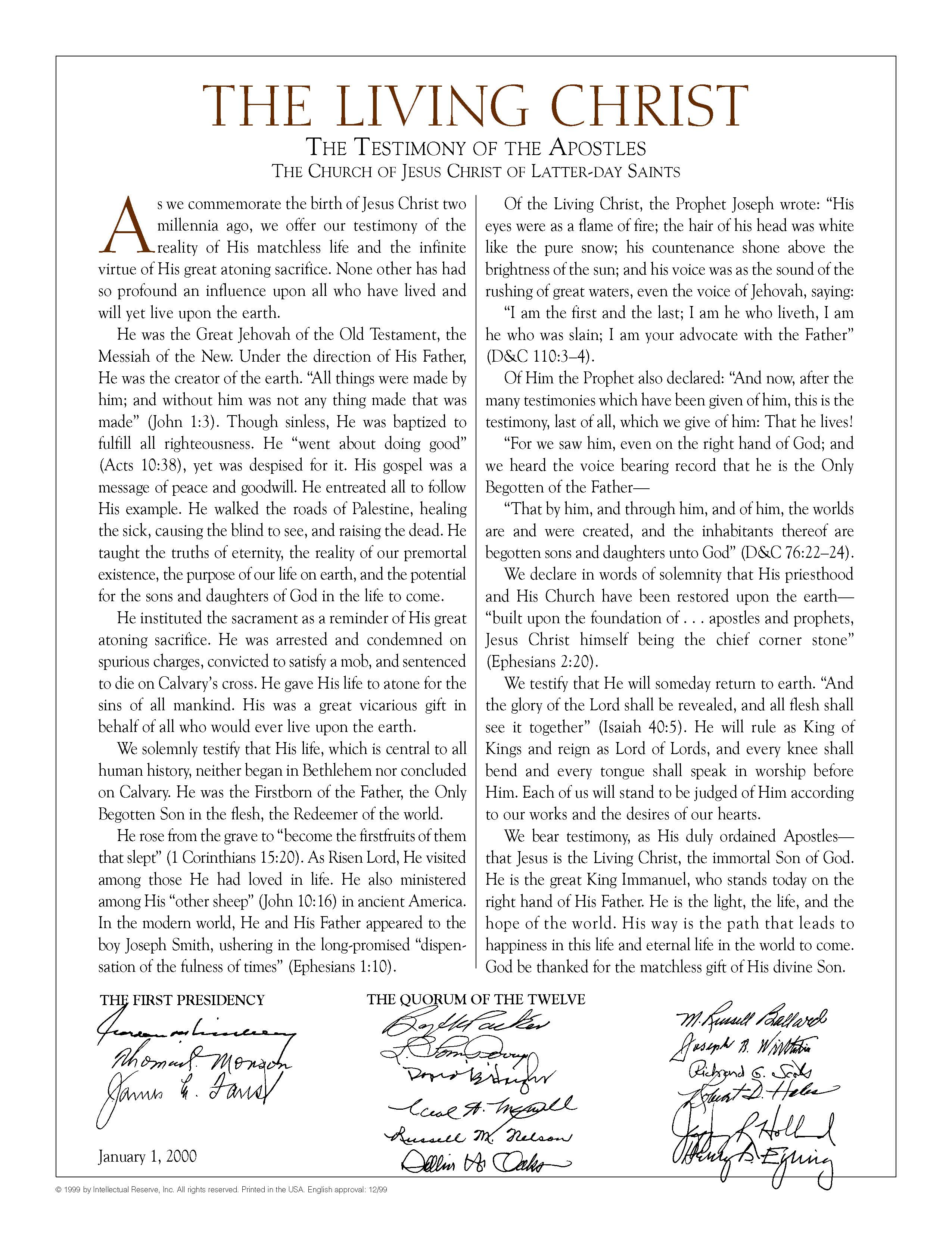 photograph about The Living Christ Printable referred to as The Dwelling Christ: The Testimony of the Apostles LDS365