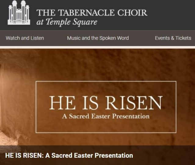 Tabernacle Choir 2019 Easter Concert to be Streamed Live