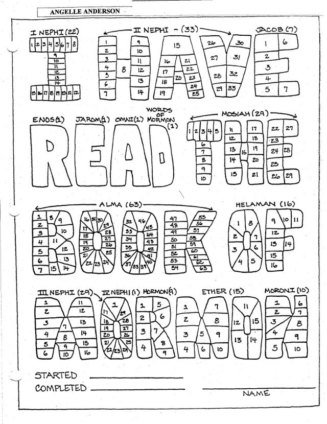 Book of Mormon reading chart from Angelle Anderson