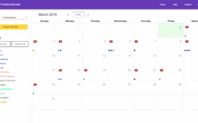 Family Calendar Creates a Calendar With Events From Your Family History