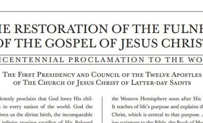 """Prophet Introduces a New Proclamation to the World: """"The Restoration of the Fulness of the Gospel of Jesus Christ"""""""