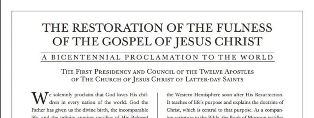 "Prophet Introduces a New Proclamation to the World: ""The Restoration of the Fulness of the Gospel of Jesus Christ"""