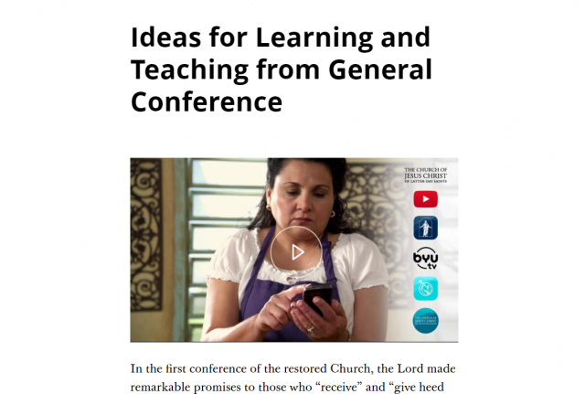 Ideas for Learning and Teaching from General Conference