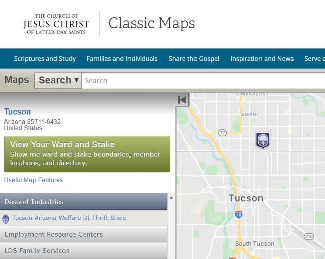 Maps for Stakes, Wards, Temples, FamilySearch Centers, Missions, Employment Resource Centers, Visitors' Centers, Deseret Industries