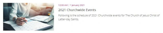 Schedule for Worldwide Church Events in 2021